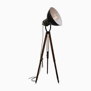 Vintage Industrial Black Enamel & Wood Tripod Floor Lamp, 1950s