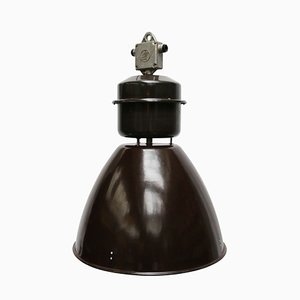 Vintage Industrial Brown Enamel Factory Pendant Lamp, 1950s