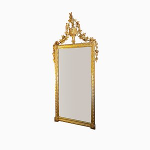 Antique Louis XVI Carved Gold Floral Mirror