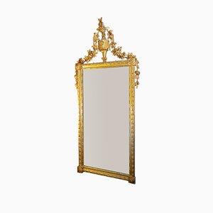 Espejo Luis XVI antiguo de madera tallada dorada