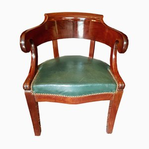Antiker Bürostuhl aus Mahagoni & Leder