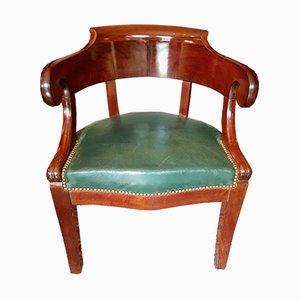 Chaise de Bureau Antique en Acajou et Cuir