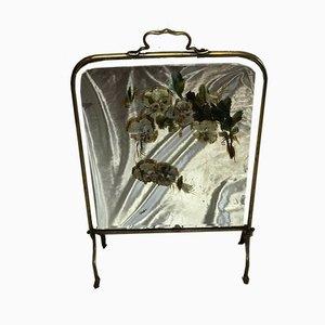 Antiker Kaminschirm mit Spiegelglasrahmen