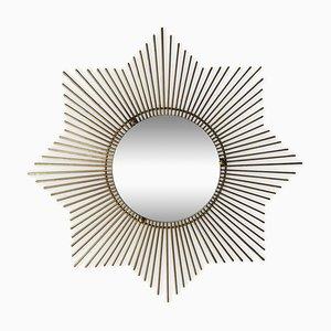 Espejo en forma de sol vintage de latón, años 50