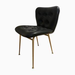 Sedia in metallo dorato e skai, anni '60