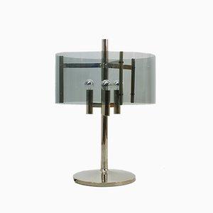 Lampada da tavolo Mid-Century in metallo cromato e lucite, anni '70