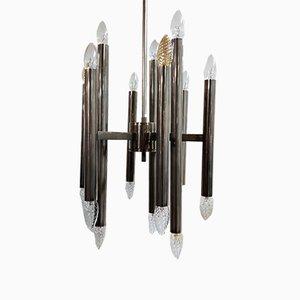 Lámpara de araña vintage de metal cromado de Gaetano Sciolari para Boulanger, años 70