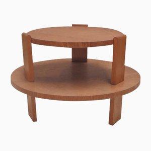 Tavolino rotondo a due ripiani in quercia, anni '30