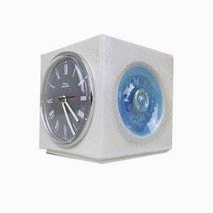 Orologio da tavolo cubico in ceramica di Diehl, anni '60