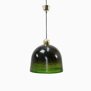 Lámpara colgante Mid-Century grande de vidrio de Peill & Putzler, años 70