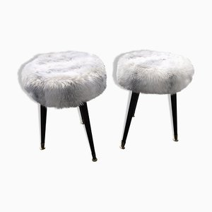 Vintage Faux Fur Stools, 1960s, Set of 2