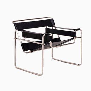 Chaise Style Wassily en Cuir Noir et Chrome, 1980s