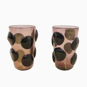 Grands Vases Sculptés à Feuille Dorée & Verre Murano par Sergio Costantini, 1980s, Set de 2
