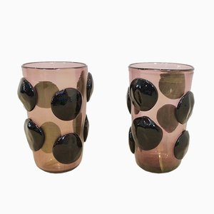 Large Sculptural Gold Leaf & Murano Glass Vases by Sergio Costantini, 1980s, Set of 2