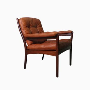 Mid-Century Danish Leather Easy Chair, 1970s