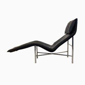 Chaise longue Skye de cuero negro de Tord Björklund para Ikea, años 70