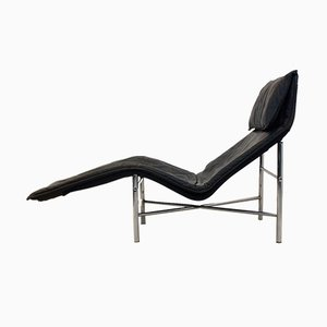 Chaise Longue Skye en Cuir Noir par Tord Björklund pour Ikea, 1970s