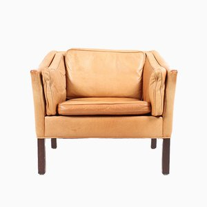 Vintage Danish Patinated Leather Lounge Chair from Grant, 1980s