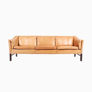 Danish Patinated Leather Sofa from Grant, 1980s
