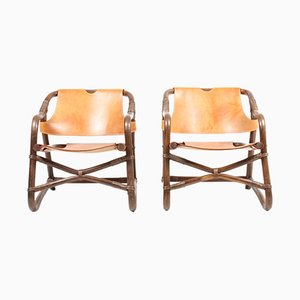 Vintage Danish Patinated Leather Lounge Chairs, 1960s, Set of 2