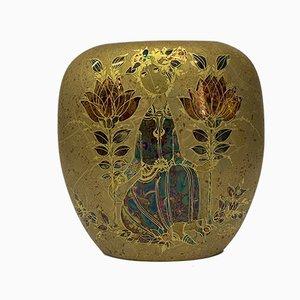 Goldene Vase von Bjørn Wiinblad für Rosenthal, 1970er