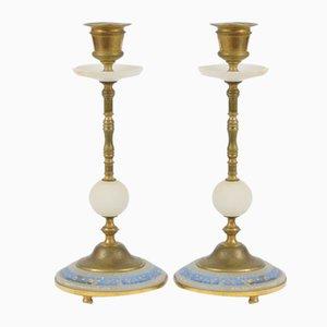 Französische Kerzenhalter aus vergoldetem Messing und Alabaster, 19. Jh., 2er Set