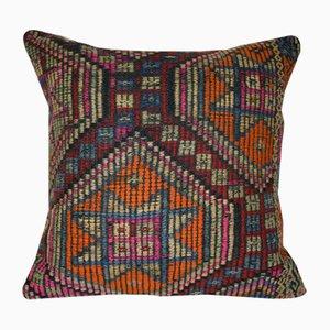 Funda de cojín hecha con kilim turco grande geométrico de Vintage Pillow Store Contemporary