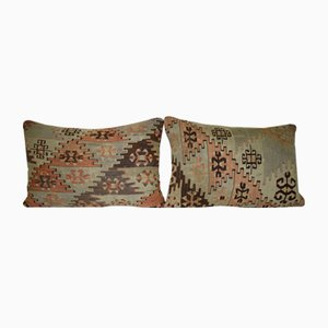Fundas para almohadas lumbares hechas con kilim turcos de Vintage Pillow Store Contemporary. Juego de 2