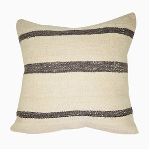 Funda de cojín cuadrada hecha con kilim turco a rayas de Vintage Pillow Store Contemporary