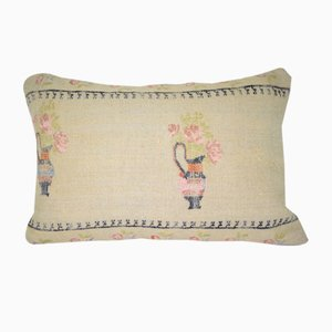 Small Needlepoint Tapestry Woven Kilim Pillow Cover from Vintage Pillow Store Contemporary
