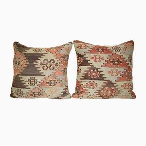 Fundas de almohada hechas con kilim turco de lana tejida a mano de vintage de Pillow Cover Contemporary. Juego de 2
