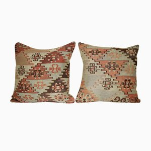 Square Turkish Pillow Covers from Vintage Pillow Store Contemporary, Set of 2