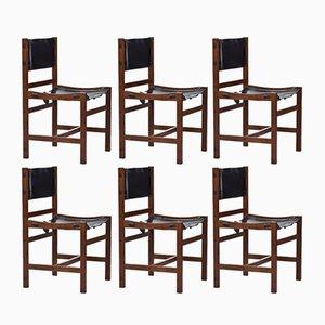 Chaises de Salle à Manger en Teck et Cuir, Danemark, 1960s, Set de 6