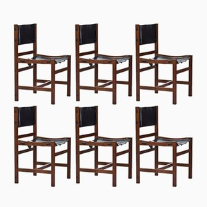 Danish Teak & Leather Dining Chairs, 1960s, Set of 6