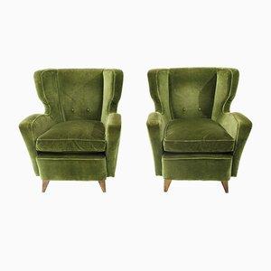 Grüne italienische Mid-Century Samtsessel, 1950er, 2er Set