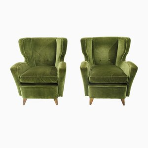 Mid-Century Italian Green Velvet Armchairs, 1950s, Set of 2