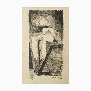 Litografía Mid-Century de Nicolas Carrega, años 50