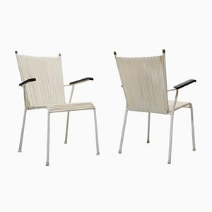 Vintage White String Garden Chairs from Mauser Werke Waldeck, 1960s, Set of 2