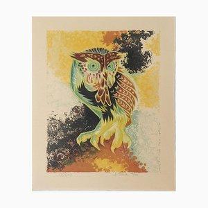 Litografía con búho vintage de Jean Lurçat