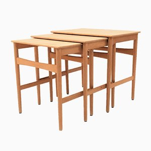 Model AT-40 Oak Nesting Tables Set by Hans J. Wegner for Andreas Tuck, 1960s