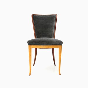 Mid-Century Wood & Velvet Dining Chairs, 1940s, Set of 6