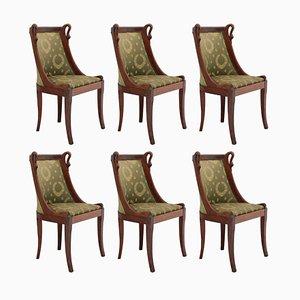 Antike französische Empire Revival Schwanenhals Stühle, 6er Set