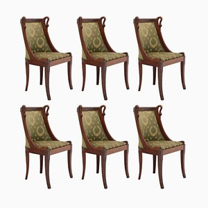 Antique French Empire Revival Style Swan Neck Chairs, Set of 6