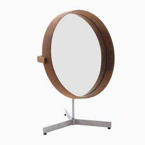 Espejo de mesa escandinavo moderno de roble de Uno & Östen Kristiansson para Luxus, años 60