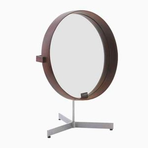 Espejo de mesa escandinavo moderno de palisandro de Uno & Östen Kristiansson para Luxus, años 60