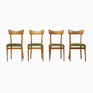 Mid-Century Italian Green Velvet & Wood Dining Chairs, 1950s, Set of 4