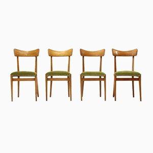 Mid-Century Italian Green Velvet & Wood Dining Chairs, 1950s, Set of 4