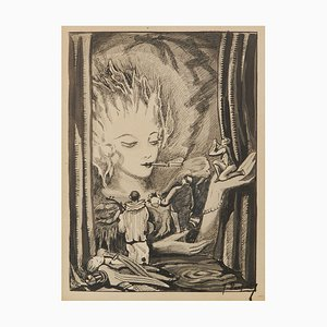 Theater Pen and Ink Drawing by Jean Dupuy, 1940s
