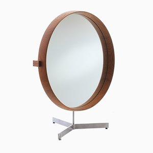 Espejo de mesa escandinavo moderno grande de teca de Uno & Östen Kristiansson para Luxus, años 60