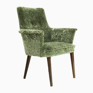 Mid-Century Italian Green Velvet & Wood Armchair, 1950s